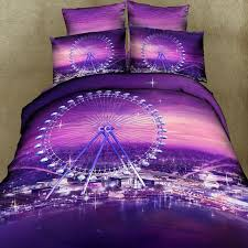 Cheap Purple Bedding Sets 3d Ferris Wheel City Skyline Purple Bedding Set Duvet