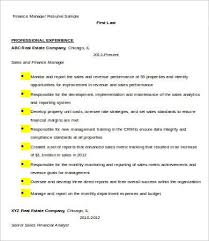 Sample Finance Resume by Financial Manager Resume 7 Free Word Excel Pdf Format