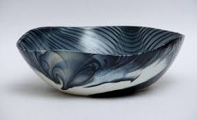 murano glass decorative bowl in white black