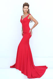 red plunging v neck sleeveless long mermaid prom dress