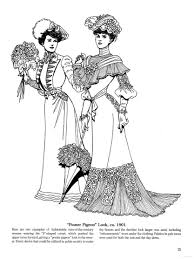 late victorian and edwardian fashions coloring page historical