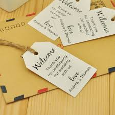 personalized wedding welcome bags 100pcs kraft paper personalized wedding tag welcome bag tag
