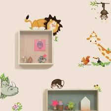 cute animal live in your home diy wall stickers home decor jungle