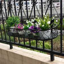 railing flower pots garden bluefabric grow bagsgarden planter