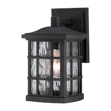 Lowes Outdoor Security Lighting by Shop Quoizel Stonington 10 5 In H Mystic Black Outdoor Wall Light