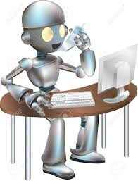illustration of futuristic robot sitting at desk on the phone