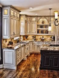 kitchen island granite countertop classic pendant lamp open cabinet wooden flooring granite