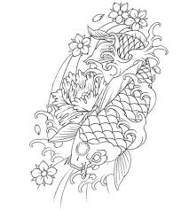 traditional japanese outline koi fish and cherry flowers