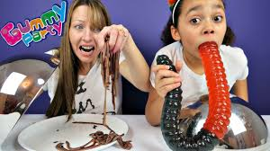 giant gummy worm candy challenge super gross food mommy