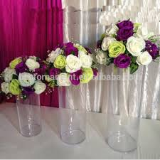 Cheap Plastic Vase Acrylic Cylinder Vase Clear Round Plastic Wedding Table Road Lead