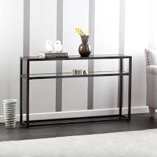 glass and metal console table avington console table black