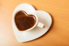 Heart Shaped Mug Coffee In Heart Shaped Cup Mug Caffeine Energy Stock Photo