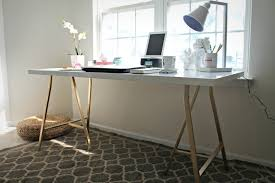 white and gold office desk ikea hack my office desk shannon claire trestle desk for sale office