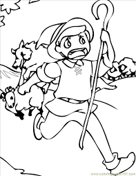 boy cried wolf ink coloring free wolf coloring pages