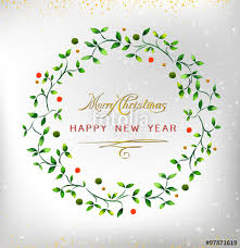 Happy New Year Invitation Merry Christmas Happy New Year 2016 Watercolor Wreath Ideal For