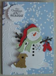x054 hand made christmas card using cottage cutz snowman die and
