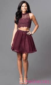 two piece malbec red homecoming dress promgirl