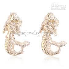mermaid earrings 2018 lureme gold plated mermaid stud earrings from