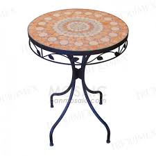 Tile Bistro Table Round Metal And Ceramic Mosaic Table For Outdoor Garden Triquimex