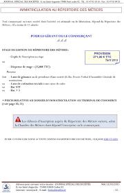 chambre des metiers inscription guide des formalités légales pdf