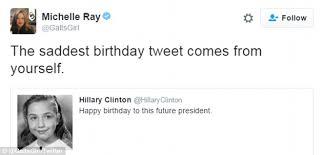 hillary clinton wishes happy birthday to herself in bizarre