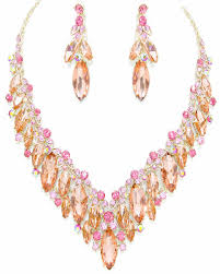 rose gold necklace fashion images Vintage style rosegold iridescent crystal rhinestone necklace gif
