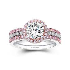wedding ring sets for women pink and white cz wedding ring set for women with sterling silver