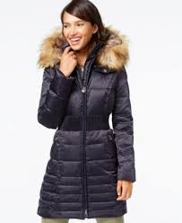 laundry by shelli segal laundry by shelli segal hooded faux fur trim puffer coat