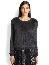 fur sweater lyst milly knitted fur sweater in gray