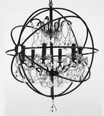 Black Iron Chandeliers Foucault S Orb Wrought Iron Chandelier Lighting Country