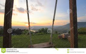 empty diy swing with sunset in thailand stock video video 51120751