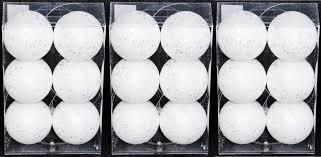18x glitzer weihnachtskugeln 6cm weiß flakes kunststoff schaum