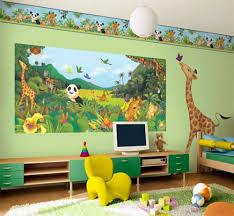 kids room wall decor ideas black wooden tree furniture model blue