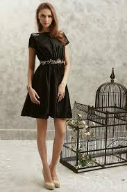 scoop jeweled knee length short sleeves satin little black dresses