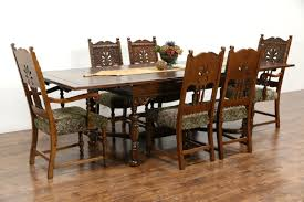 Antique Oak Dining Room Sets Sold English Tudor 1925 Antique Carved Oak Dining Set Table 2