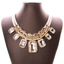 big crystal necklace images Trendy necklaces pendants link chain double layers big crystal jpg