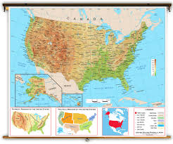 Us And Canada Physical Map by United States Intermediate Physical Classroom Map From Academia Maps