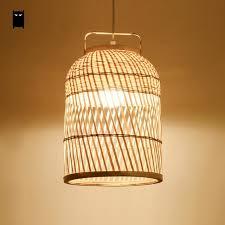 Woven Pendant Light Woven Bamboo Wicker Rattan Cage Shdae Pendant Light
