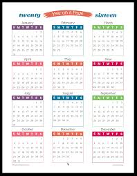 printable calendar year on one page 2016 year on page printable calendars are here