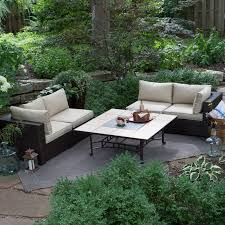 Hayneedle Patio Furniture Belham Living Marcella All Weather Wicker 50 In Fire Pit Chat Set