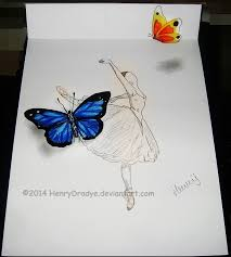 sketch ballerina 3d butterfly by henrydradye on deviantart