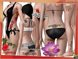 japanese lotus and hibiscus flower tattoos by mirel at lorandia sims 3