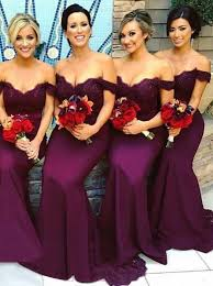 bridesmaid dress buy mermaid the shoulder grape elastic satin bridesmaid dress
