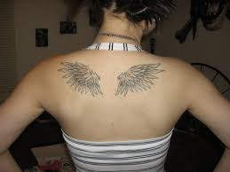 small angel wing tattoo designs on upper back for girls tattoo