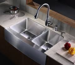 Kraus  Inch Farmhouse Apron Sink  Gauge Stainless Steel - Farmhouse double bowl kitchen sink