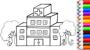 how to draw and color 3d hospital and ambulance coloring pages