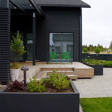 outdoor living area scandinavian nordic garden design designed