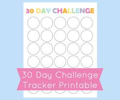 30 day challenge tracker printable 30 day challenge template