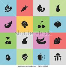 editable fruit set 13 editable fruits icons includes stock vector 716156077
