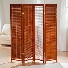 brown polished wooden 4 folding room divider with varnished bamboo